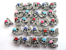 10p English Alphabet Rhinestone 8mm A-O Slide Charms letters with skull fit DIY 8mm Wristband & Bracelet & pet collar(China)