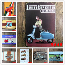 "Wand Decoratie Vintage""lambretta Innocenti"" Vintage Metal Tin Signs Retro Tin Plate Sign Wall Decoration for Bar Neon Beer Sign"