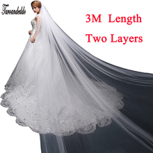 White/Ivory 3M White/Ivory Wedding Veil Two-layer Long Bridal Veil Head Veil Wedding Accessories Fashion(China)