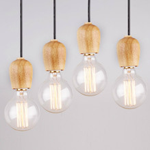 Wood art trend original wood lamp Solid wood bulb chandelier The bar Cafe single head wood droplight,abajur Free Shipping