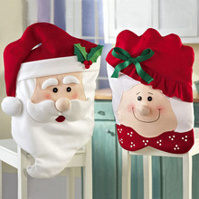 1pcs Christmas Mr Mrs Santa Claus Hat Chair Back Cover Table Room Holiday Decoration SBmD