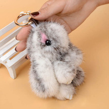 Real Water Mink Fur Rabbit Plush Toys Pendant Key Chain Cute bunny Stuffed Doll Toys Charm Tag Mini Rabbit Toys for Best Gifts