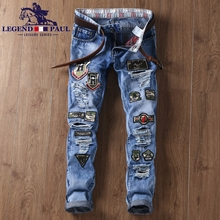 LEGEND PAUL New men's fashion casual shoes jeans men's badge embroidery Slim small straight long trousers