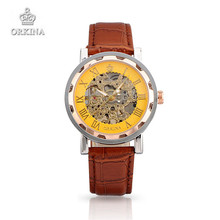 Orkina Luxury Brand Skeleton Mechanical Watch Men Women Business Wristwatches Chocolate Leather Watches For Men Women