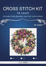 JCS  46x46cm, 14CT  FREE delivery Top Quality popular counted cross stitch kit wreath of roses Christmas wreath garland dim 3837
