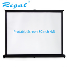 Rigal Projector Table Screen Portable 50 inch 4:3 Diagonal Mini Matte White Projection Screen For Office Business Training(China)