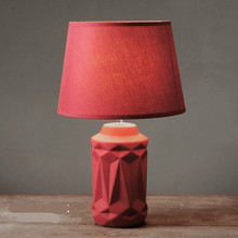 Simple Nordic Creative Retro Red Ceramic Fabric Led E14 Table Lamp For Bedroom Bedside Wedding Deco Living Room H 37cm 1075