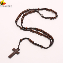 OPPOHERE Men Women Catholic Christ Wooden 8mm Rosary Bead Cross Pendant Woven Rope Necklace Black/brown/Beige/ligt brown(China)