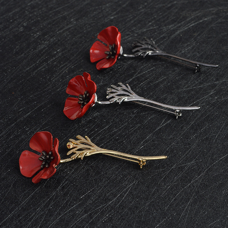 Black Gold Color Vintage Brooch Antique Red Poppy Flower Nrooch Pins Large Brooches for Women Men Suit Collar Accessories X424   (1)