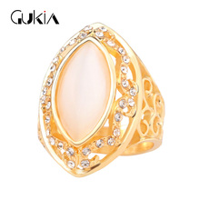 Gukin Fashion Lace Hollow Horse Eye AAAOpal Wedding Rings For Women Deluxe Gold Colour Turkey Jewelry 11.11 Christmas Party Gift