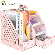 Folder A4 Paper Office Supplies Desktop Wooden Storage Box System Documentation Books Magazine File Box