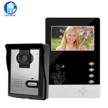 "OBO HANDS 4.3""LCD color screen Video doorbell door phone for home Speakerphone Intercom System With Waterproof Outdoor IR Camera(China)"