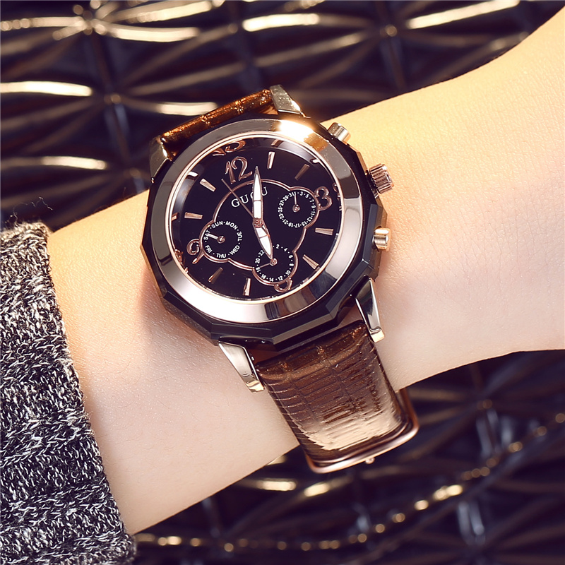 GUOU Large Dial relogio feminino Women Watch 2017 Luxury Brand Analog Leather Quartz Watches Female Clock with Gift Box Black<br>
