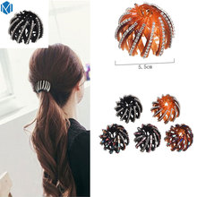 M MISM 2.2inch New Rhinestones Bead Bud Nest Hair Disk Hair Claw Head Wear Hair Accessories Ornaments For Women Girls(China)