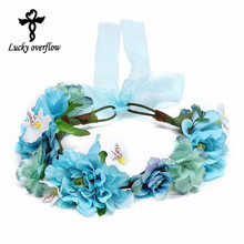2017 Bohemian Handmade Flower Headband Women Flower Crown Wedding Garland Hair Accessories Bridal Headdress Gift Free Shipping(China)