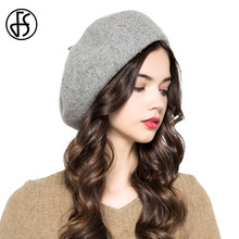 FS Winter Vintage Gray Pink Blue Wool Beret Hat For Women British French Berets Cap For Ladies Foldable Casual Knit Painter Hats