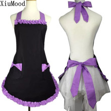 XiuMood New Cute Bib 100% cotton Apron Dress Flirty Vintage Kitchen Women Bowknot with Pocket Gift