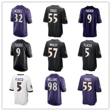 Men's Terrell Suggs Justin Tucker C.J. Mosley Eric Weddle Joe Flacco Brandon Williams Custom Ravens Game Jerseys(China)