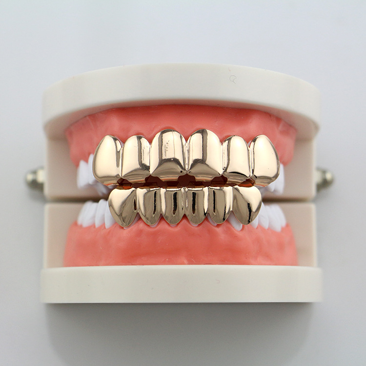 Hip Hop rapper Teeth Grillz Caps Fangs Top & Bottom Smooth Grill ...