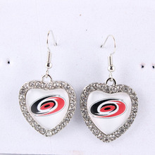 6Pairs/lot Carolina Hurricanes Earrings NHL Team Heart Cabochon Earrings Ice Hockey Charms With Crystals Earrings for Women Fans(China)
