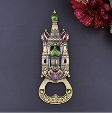 Vintage Russia import exquisite tin alloy double sided castle multi-function bottle opener fridge magnet openers