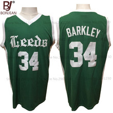 BONJEAN Cheap Charles Barkley 34 Leeds High School Basketball Jersey Green Throwback Stitch Mens Shirt High Quality(China)