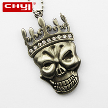 CHYI Cool Queen Necklace USB Flash Drive Pen Drive Skull with Imperial Crown Memory Stick 4GB 8GB 16GB 32GB 64GB Pendrive U Disk(China)
