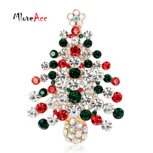 MloveAcc New Year Christmas Tree Brooch Pin Collar Clip Scarf Accessory Fashion Jewelry Full Rhinestones Brooches Gift for Women