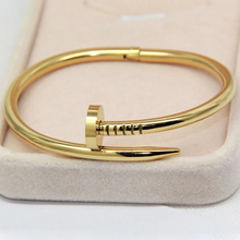 High Quality Gold Colour Women Cuff Nail Bangle Stainless Steel Jewelry Brand Love Bracelet Bangle For Women And Man Pulseiras(China)