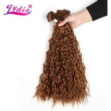 "Lydia For Black Women Synthetic Curly Weave 3 Packs/Lot 20"" Nature Color Brown Water Wave Hair Bundles Jerry Curl Hair Extension(China)"