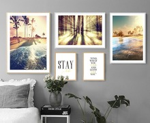 5pcs/set  Nordic Sunset Sea Coconut trees Art Cloth Posters Home Decor Art Painting Wall Photo Living Room No Frame 391