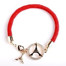 2016 Fashion Pierced Eiffel Tower Red String Lovers Natal Lucky Red String Bracelet Accessories Hollow Bracelet
