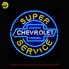 Neon sign CHEVROLET SUPER SERVICE handicrafted real glass Tube custom neon sign bar light advertising Garage Neon Lichtbak 24x24(China)
