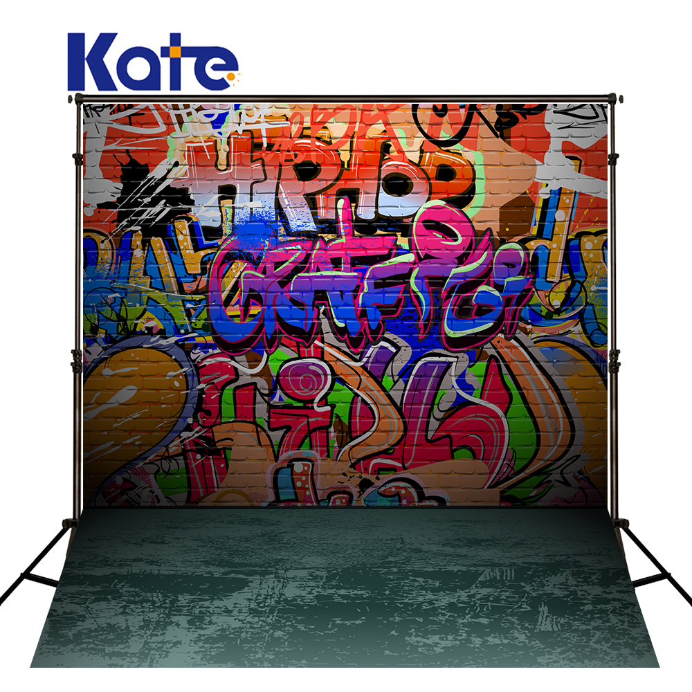 10x10ft Kate Colorful Graffiti Brick Wall Backgrounds Photo Studio No Creases Photo Background Photography Backdrop for Children<br>