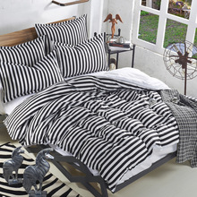 Fashion White/Black Stripes Bedding Set fashion bedclothes bed linen include Quilt Cover bed Sheet Pillowcase free shipping