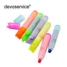 6PCS/Set Rabbit Mini Highlighter Pen Marker Pens Kawaii Stationery Material Escolar Papelaria Writing School Supplies(China)