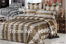 luxurious imitated silk fabric girls bedding set brown leopard skin printed bed in a bag queen/full duvet covers sets bed linens
