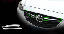 Chrome Front Grille Grill Cover Trim Moulding For New MAZDA 6 ATENZA 2013 2014 2pcs/set Car Styling Exterior Chrome Accessories
