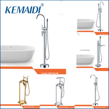 KEMAIDI Good Quality WELS and CUPC Bathroom Floor Standing Bath Tub Faucet Mixer Set & Hand Held Shower Spray Polished Chrome(China)