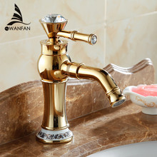 Classic Beautiful Deck Mounted Single Handle Counter top Basin Faucet Gold Brass Hot and Cold Water Bathroom Mixer Taps 328