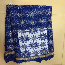 African Royal Blue French Net Tulle Lace Fabric latest african laces farbics 2017 Stone(China)