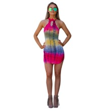 Turtleneck backless mini short dress summer women casual clothes 2017 vestidos hot sale ethnic print dresses sexy club wear H378