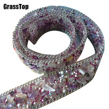 2017 New High Grade Rhinestone Trim Patches Gemstone Appliques Wedding Dress Belt DIY Accessories Patches for Cloth, Hat,Bag 2cm