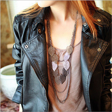 bohemian leaf multi layer long fashion women necklaces & pendants wholesale jewelry pendant accesories necklace women gold new(China)