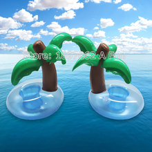 2016 Summer Cute Drink Can Holder PVC Inflatable Floating Coconut Trees Swimming Pool Bathroom Beach Water Drink Holder