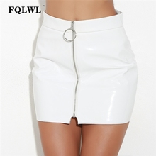 Buy FQLWL Faux PVC PU Leather Sexy Mini Skirt Women Metal Circle Zipper Latex Pencil Skirt Jupe Cayon Bodycon Short Skirts Vadim