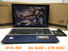 Fast Surfing 8G RAM+1TG HDD 15.6inch Quad Core Windows 7/8.1 Notebook PC Laptop Computer with DVD ROM game ultrabook netbook(China)