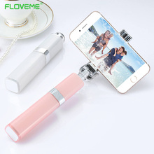 FLOVEME Girls Pink Mini Portable Extendable Camera Monopod 3.5mm Wired Metal Stick Photo Selfie Lipstick Cute Self-stick Crandle(China)