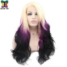 HAIR SW Long Body Wave Synthetic Lace Front Wig Ombre Blonde Purple Black Three tone Rainbow Dip Dyed Darg Queen Wig For Women(China)