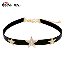 KISS ME Black Choker Necklace Crystal Stars Maxi Necklaces for Women New Design Fashion Jewelry Accessory